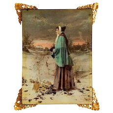Antique Hand Tinted Framed Lithograph