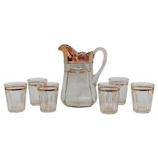 Antique Clear Glass Water Pitcher and Glasses Set