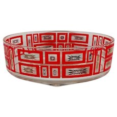 Vintage Mid Century Red and Gold Atomic Starburst Bowl