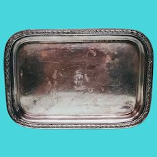 Vintage International Silver Co Silver Plate Tray From Hotel Morton