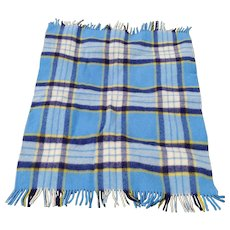 "Vintage 100% Wool ""Quiltex Fabric by Orr"" Blue Plaid Throw Blanket"