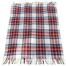 "Vintage 100% Wool ""Curvon Corp"" Red Plaid Throw Blanket- 42"" x 36"""