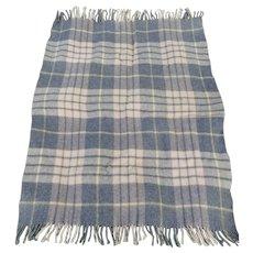 """Vintage 100% Virgin Wool """"Carldyke"""" Gray Plaid Throw Blanket- 44.5"""" x 35"""""""