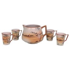 Antique Nippon Landscape Scene Lemonade Drink Set