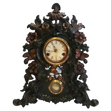 Bristol Brass Cast Iron Clock Original Paint and Mother of Pearl Inlays