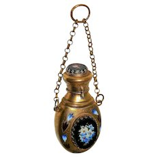 ~ 19th Century Chatelaine Perfume-Parfum Bottle Pietra Dura Scarce ~