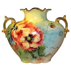 ~ Limoges Pouyat French Porcelain Vase c1900 Hand Painted Blooms & Buds ~
