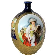 ~ Royal Bayreuth Vase Porcelain Beauty & Pony c1902 ~