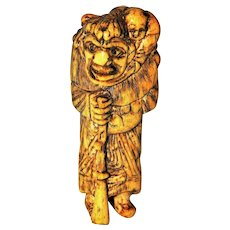 ~  Hand Carved Netsuke Japanese Oni & Child  ~