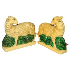 ~ Pair Vintage Borghese Figural 2-sided Sheep Bookends ~