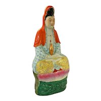 """~  Early Chinese Guanyin 10"""" Porcelain Figural / Figurine Signed  ~"""