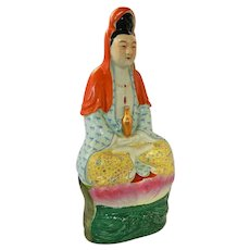 "~  Early Chinese Guanyin 10"" Porcelain Figural / Figurine Signed  ~"