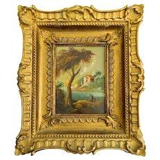 ~ Framed Miniature Oil Painting on Copper Whimsical Folk ~
