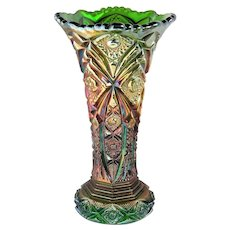 ~Vintage Imperial Art Glass Nucut Vase Fabulous  Iridescence 10in ~