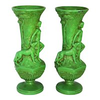 ~  Pair (2) Art Deco Era Cast Metal Diana the Huntress Vases  ~