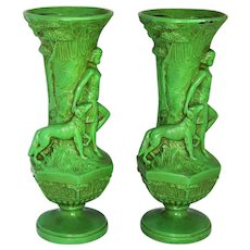 ~  Pair (2) Art Deco Era Cast Metal Diana the Huntress Vases  ~