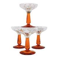 ~  Art Deco Era Set (5) Elegant Glass Champagne Stemware, Wow!  ~