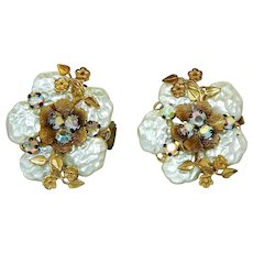 ~  Gorgeous Miriam Haskell Pair Earrings Clipback Unsigned  ~