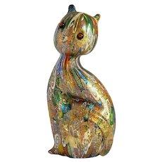 ~  Vintage Murano Solid Art Glass Millefiori Cat Original Tag  ~