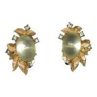 ~  1950's Jomaz Pair Glass Cab Moonstone Earrings Clipback Signed + Patent No.  ~