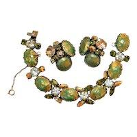 ~ 1950's Signed Regency Bracelet & Clip-back Earrings, Fabulous  ~