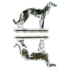 ~  Vintage Pair New Martinsville Glass Borzoi Dog Bookends, Heavy Solid ~
