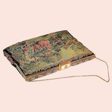 "~  8.5"" French Herve' Paris Handbag Petit Point Filigree Enamel MOP ~"