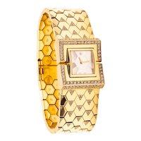 Van Cleef & Arpels Paris 18 kt gold Ludo Swann bracelet wristwatch with 4.68 Cts in diamonds