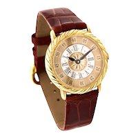 Buccellati Milano 18 kt gold Audachron wristwatch with crocodile band & gold buckle