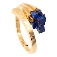 Mellerio 1970 Paris very rare 18 kt gold geometric bracelet with blue lapis lazuli
