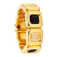 Cartier 1970's Aldo Cipullo geometric bracelet in 18 kt yellow gold with 2.88 Ctw diamonds & onyx