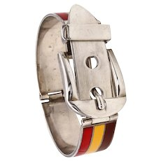 Gucci 1970 Milano Sterling silver buckle bracelet with three-color enamel