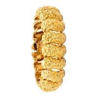 Marchak Paris 1960 French mid-century retro bracelet in textured 18 kt yellow gold