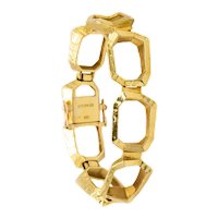 Ed Wiener 1970 New York hammered 18 kt yellow gold bracelet with geometric links