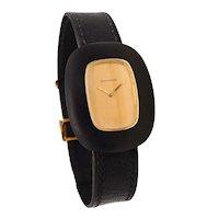 Boucheron 1970 Paris bracelet wristwatch in 18 kt yellow gold with ebony wood