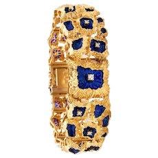 Italian Plique a jour brutalist bracelet in 18 kt gold with diamonds & blue enamel