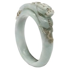 China 1800 Qing Dynasty rare white jade bangle bracelet with carved Dragon on top
