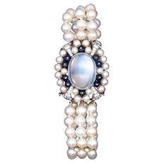 Raymond C. Yard 1940 Art-Deco platinum bracelet with 21.58 Ctw in gems & moonstone