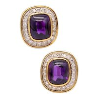 Cartier 18 kt yellow gold earrings with 15.32 Ctw in Diamonds & Amethyst