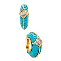 European modernist oversized hoop-earrings in 18 kt yellow gold with diamonds and turquoises