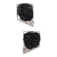 Jean Vendome 1970 Paris Rare clips-earrings in 18 kt white gold with diamonds & sphalerite quartz