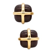Seaman Schepps New York 18 kt yellow gold caged earrings with rose wood