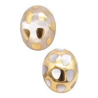 Tiffany & Co. 1970's by Angela Cummings Polka dots earrings in 18 kt yellow gold with white nacre