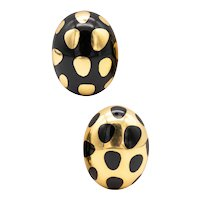 Tiffany & Co. 1970's by Angela Cummings Polka dots earrings in 18 kt yellow gold with black jade