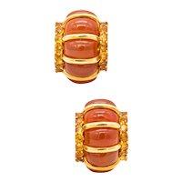 Seaman Schepps 18 kt gold shrimp earrings with 42.80 Ctw carnelian & citrines