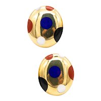 Tiffany & Co. 1970's by Angela Cummings geometric earrings in 18 kt yellow gold with color Gemstones
