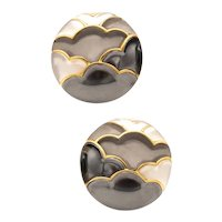 Angela Cummings Japonisme ear-clips 18 kt yellow gold with inlaid gemstones