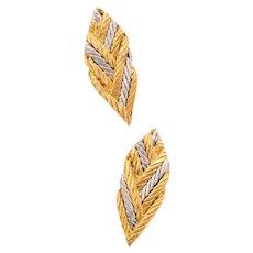 Buccellati Gianmaria Milano 18 kt gold & platinum textured earrings