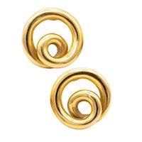 Angela Cummings 1990 Studios Swirls circles earrings in solid 18 kt yellow gold