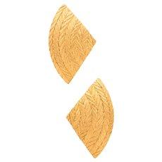 Buccellati Milano geometric woven earrings in textured 18 kt yellow gold